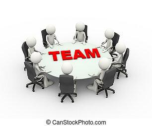 conférence, professionnels, équipe, table, réunion, 3d
