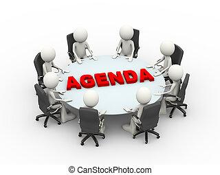 conférence, professionnels, ordre du jour, table, réunion, 3d