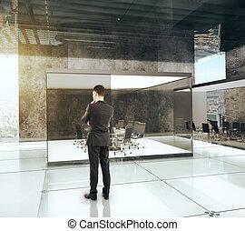 conférence, render, bureau, salle, luxe, homme affaires, 3d