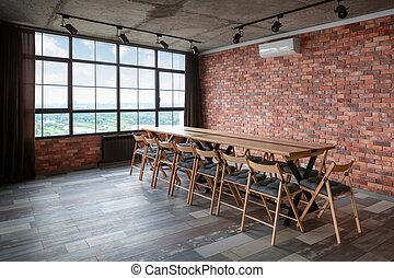 conférence, room., intérieur, moderne, conception