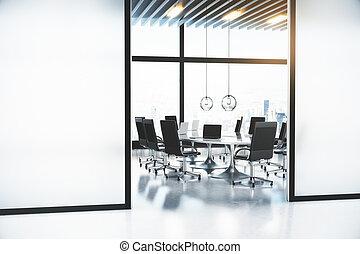 conférence, salle moderne, bureau, whithe