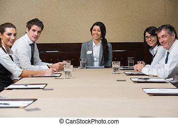 conférence, sourire, equipe affaires