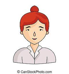conférence, style, illustration., femme affaires, symbole, isolé, arrière-plan., vecteur, blanc, icône, negetiations, dessin animé, stockage