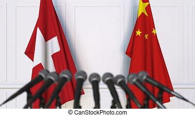 conférence, suisse, drapeaux, international, presse, porcelaine, réunion, ou, négociations