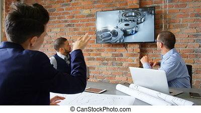conférence, sur, écran, cadres, discuter, 4k, salle