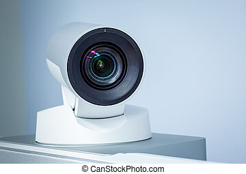 conférence, téléconférence, telepresence, appareil photo, ...