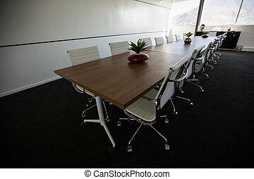 conférence, vide, table, salle réunion