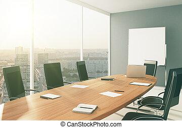 conférence, ville, meubles, salle, tableau noir, lumière, vue