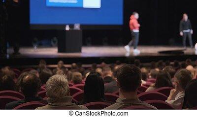 conférencier, atelier, audience, écoute
