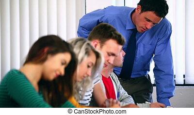 conférencier, portion, classe, étudiant