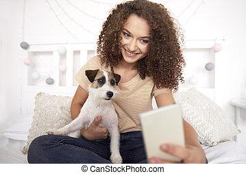 confection, adolescent, elle, chien, selfie, girl