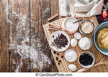 confection, biscuits, au-dessus, ingrédients
