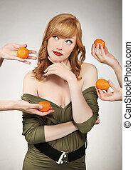 confection, choix, belle femme, fruit