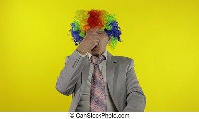 confection, clown, patron, faces, entrepreneur, idiot, homme affaires, personne agee