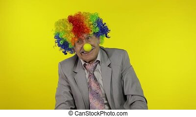 confection, clown, patron, idiot, entrepreneur, homme affaires, expressions, faces., personne agee