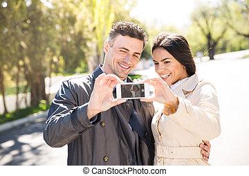 confection, couple, heureux, selfie, photo