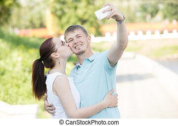 confection, couple, parc, selfie