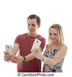 confection, couple, selfie, jeune