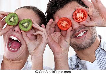 confection, couple, visages drôles