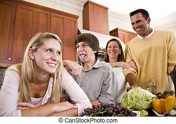 confection, cuisine, ados, famille, faces