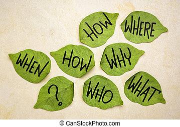 confection, décision, brain-storming, ou, questions