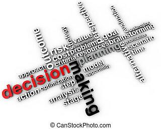 confection, décision, mot, nuage