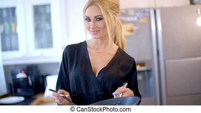 confection, dîner, femme, blonds, joli