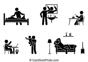 confection, enfant, lit, icône, manger, journalier, activités, reposer, séance, crosse, fonctionnement, cheveux, étudier, brossage, set., figure, jouer, délassant, bureau, vie, vecteur, sofa, homme, temps, pictogramme