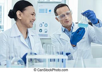 confection, expérience, chercheurs, laboratoire, heureux
