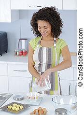 confection, femme, pâte, jeune, cuisine