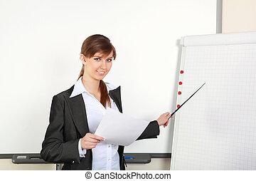 confection, femme, présentation, jeune, business