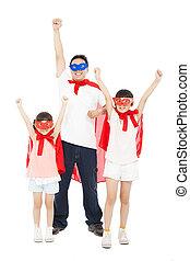 confection, filles, père, pose, rouges, superhero, cap