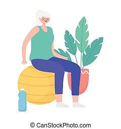 confection, fitball, activité, femme, exercices, vieux, ...