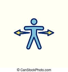 confection, flèche, dépeindre, vecteur, décision, directionnel, choix, icône, signe, ou, manière