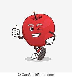 confection, geste, pomme, mascotte, pouces, caractère, haut, dessin animé