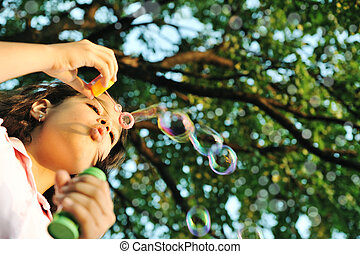 confection, girl, bulles, nature