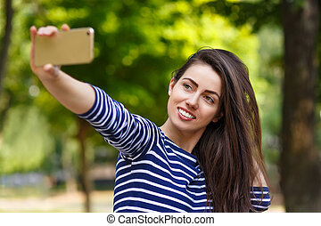 confection, girl, selfie