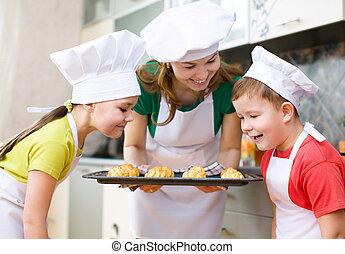 confection, mère, enfants, pain