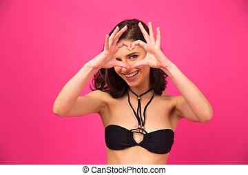 confection, mains, forme coeur, femme