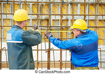 confection, ouvriers, construction, deux, renforcement