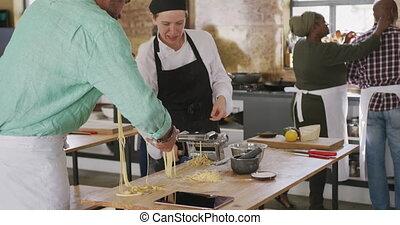 confection, pâtes, chefs, ensemble