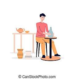 confection, poterie, plat, vecteur, argile, illustration, ...