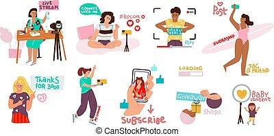 confection, réseau, griffonnage, set., vecteur, bloggers,...