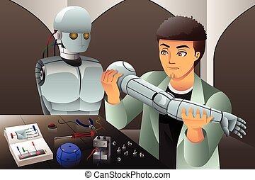 confection, robot, homme