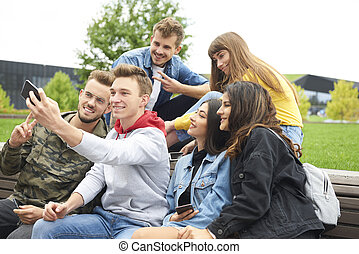 confection, selfie, amis, groupe