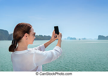 confection, selfie, femme, voyager, bateau