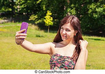 confection, selfie, parc, jeune fille