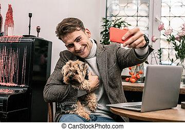 confection, selfie, sien, chien, homme