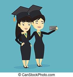 confection, selfie, vecteur, illustration., diplômés