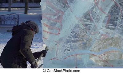 confection, skulpture., personne, undefined, glace, concept, activités, hiver